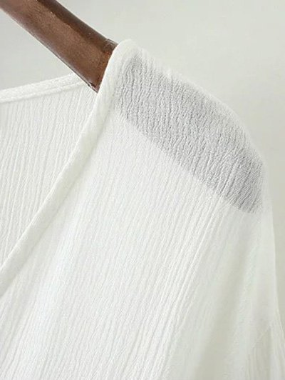 String Flare Sleeve Embroidered Blouse - WHITE M Mobile