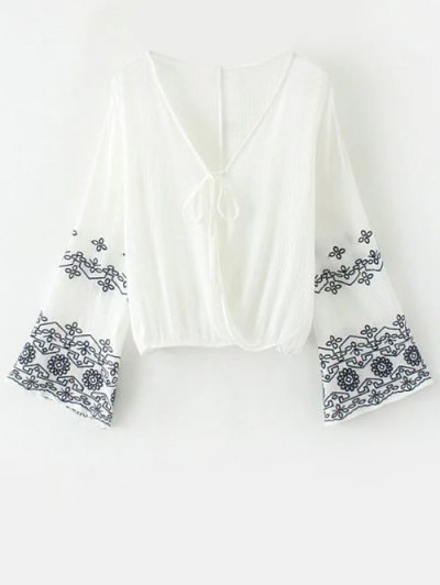 String Flare Sleeve Embroidered Blouse - WHITE S Mobile
