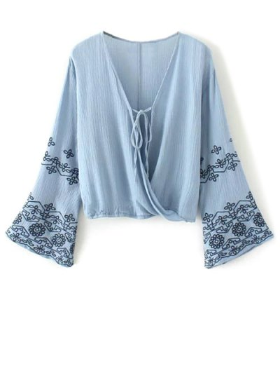 String Flare Sleeve Embroidered Blouse - BLUE L Mobile