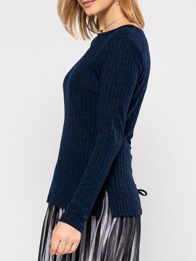 Back Lace Up Sweater - PURPLISH BLUE L Mobile