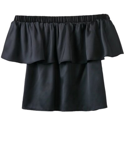 Off The Shoulder Flouncing Blouse - BLACK S Mobile