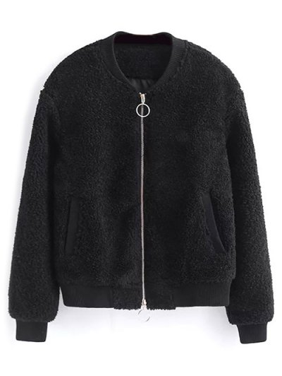 Zip-Up Lamb Wool Jacket - BLACK M Mobile