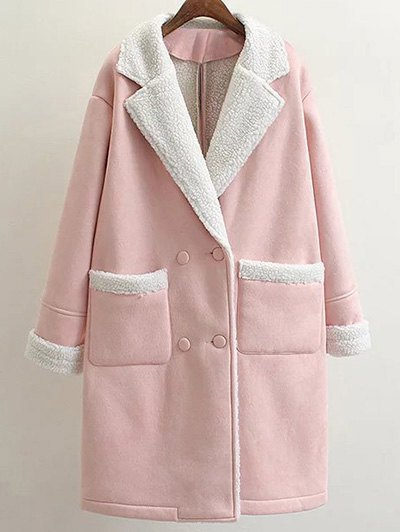 Lapel Faux Shearling Pea Coat - PINK S Mobile
