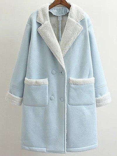 Lapel Faux Shearling Pea Coat - LIGHT BLUE L Mobile