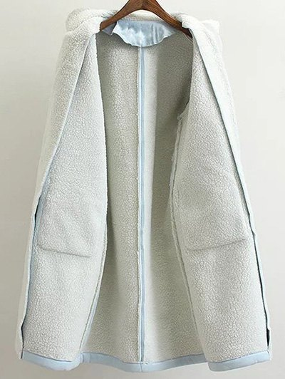Lapel Faux Shearling Pea Coat - LIGHT BLUE M Mobile