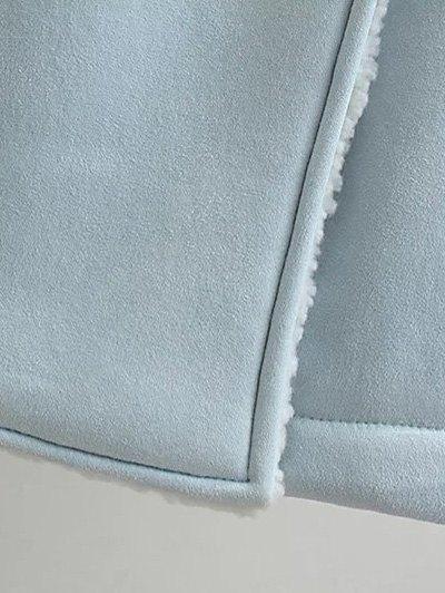 Lapel Faux Shearling Pea Coat - LIGHT BLUE S Mobile