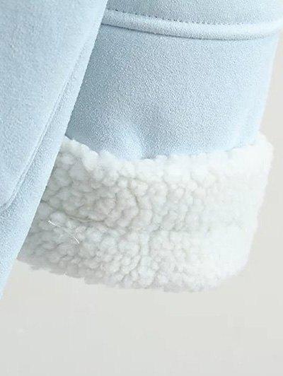 Lapel Faux Shearling Pea Coat - BROWN L Mobile