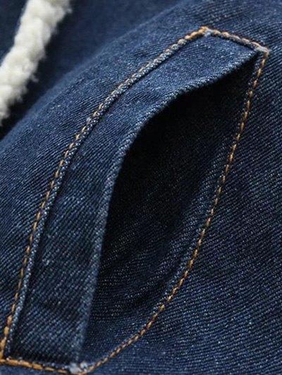 Turndown Collar Faux Shearling Jean Coat - DENIM BLUE L Mobile