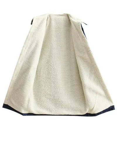 Turndown Collar Faux Shearling Jean Coat - DENIM BLUE S Mobile