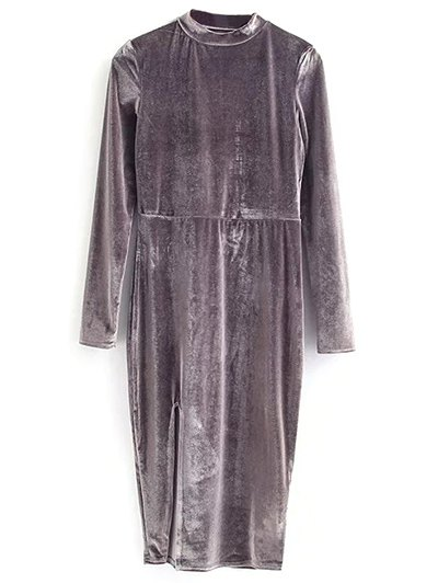 Vintage Velvet Slit Dress - GRAY M Mobile