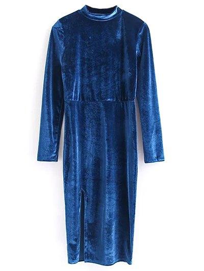 Vintage Velvet Slit Dress - BLUE M Mobile