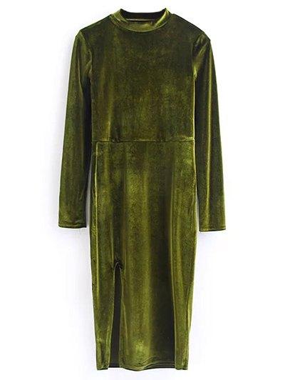 Vintage Velvet Slit Dress - OLIVE GREEN M Mobile