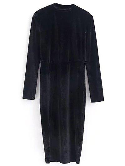 Vintage Velvet Slit Dress - BLACK S Mobile