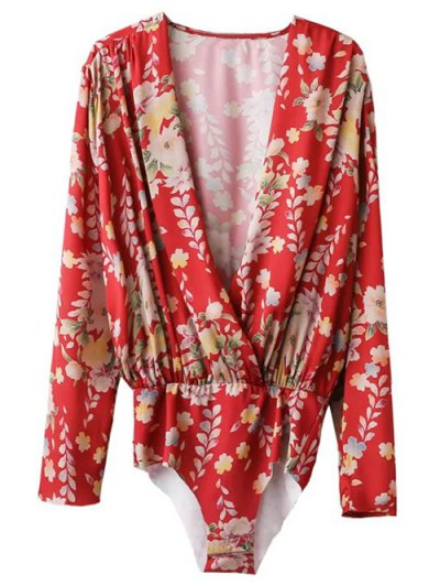 Ethnic Style Floral Bodysuit - RED L Mobile