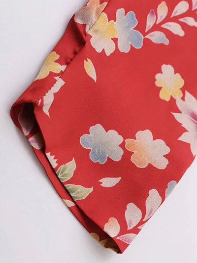 Ethnic Style Floral Bodysuit - RED S Mobile