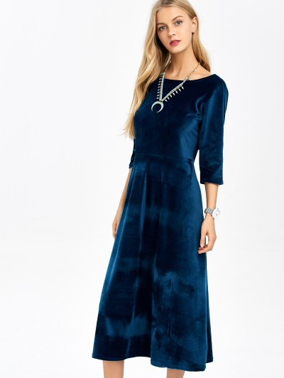 Open Back Velvet Tea Length Dress - DEEP BLUE ONE SIZE Mobile
