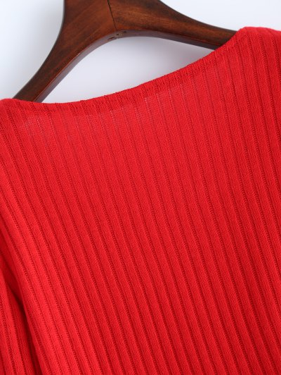 Ribbed Knit Lace Up Jumper - RED L Mobile