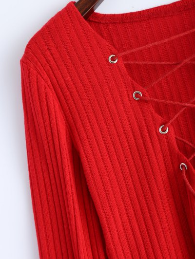 Ribbed Knit Lace Up Jumper - RED M Mobile