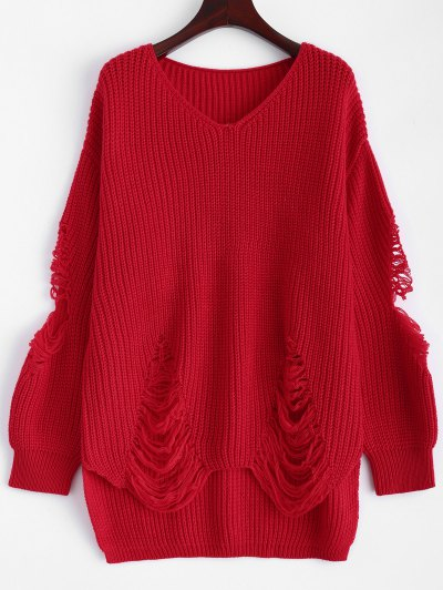 Loose Pullover Distressed  Sweater - RED XL Mobile