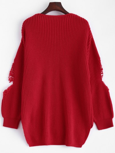 Loose Pullover Distressed  Sweater - RED L Mobile