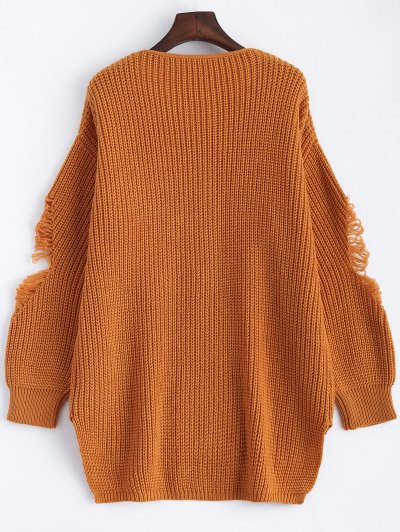 Loose Pullover Distressed  Sweater - EARTHY M Mobile