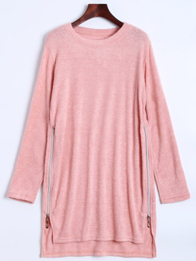 Side Zipper Sweater Dress - PINK L Mobile