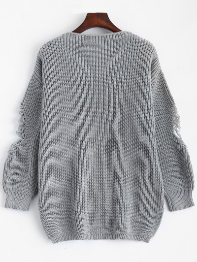 Loose Pullover Distressed  Sweater - DEEP GRAY 2XL Mobile