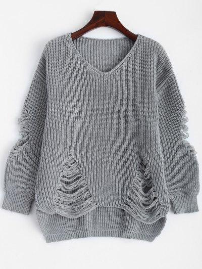 Loose Pullover Distressed  Sweater - DEEP GRAY L Mobile