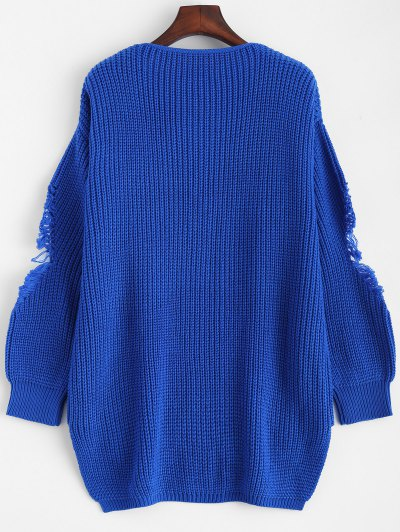 Loose Pullover Distressed  Sweater - BLUE 2XL Mobile