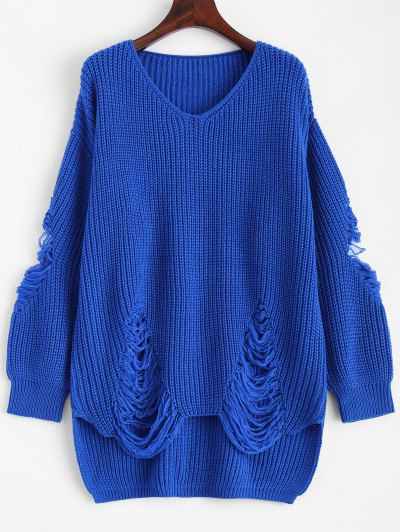 Loose Pullover Distressed  Sweater - BLUE M Mobile