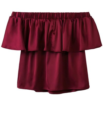 Off The Shoulder Flouncing Blouse - WINE RED S Mobile