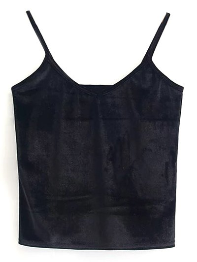 Velvet Cropped Tank Top - BLACK ONE SIZE Mobile