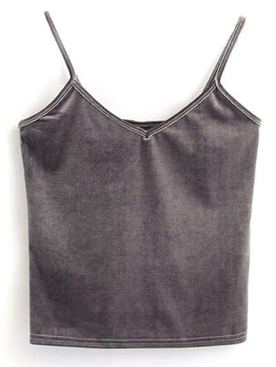 Velvet Cropped Tank Top - GRAY ONE SIZE Mobile