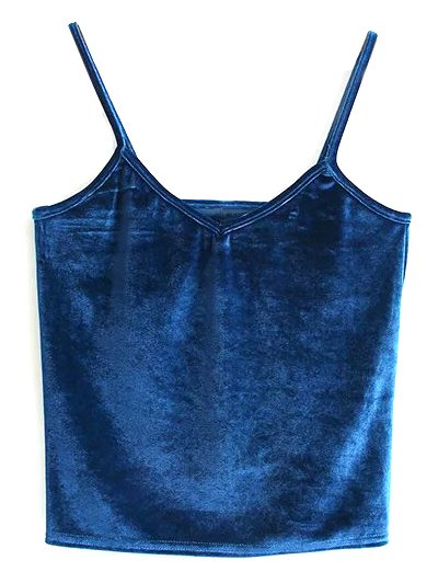 Velvet Cropped Tank Top - PEACOCK BLUE ONE SIZE Mobile