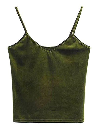 Velvet Cropped Tank Top - OLIVE GREEN ONE SIZE Mobile