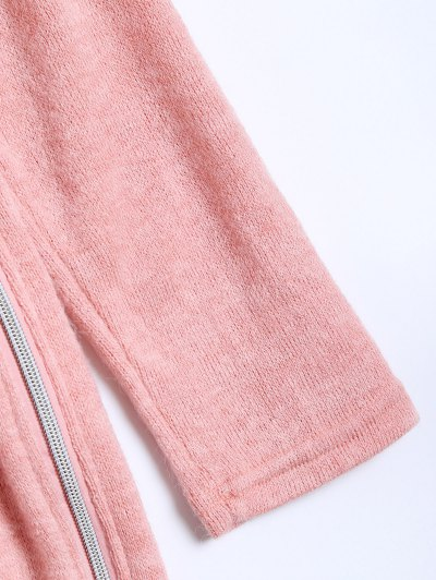 Side Zipper Sweater Dress - PINK M Mobile