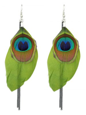 Bohemian Style Peacock Feather Earrings - Green