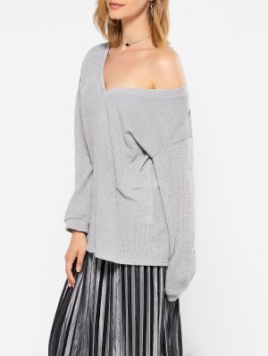 Long Sleeve V Neck Jumper - Gray