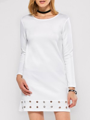 Long Sleeve Jewel Neck Hollow Out Dress - White