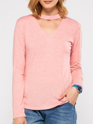 Cut Out Stand Neck Top - Pink