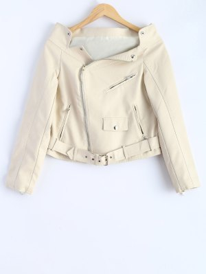 Off Shoulder Zippered Biker Jacket - Off-white