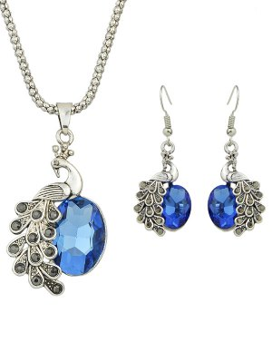 Faux Gem Peacock Necklace And Earrings - Blue