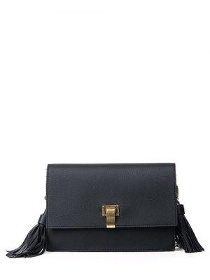 Chain Tassels Metal Crossbody Bag - Black