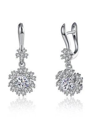 S925 Diamond Snowflake Drop Earrings - Silver