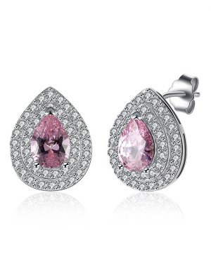 S925 Diamond Teardrop Earrings - Pink