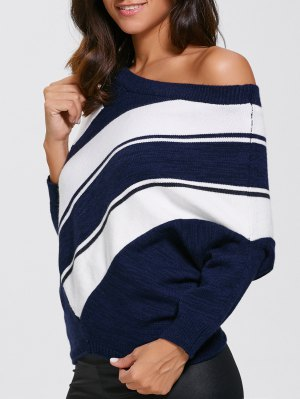 Pullover Skew Neck Color Block Sweater - Purplishblue + White