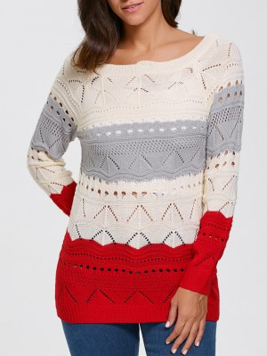 Pullover Hollow Out Color Block Sweater - Palomino