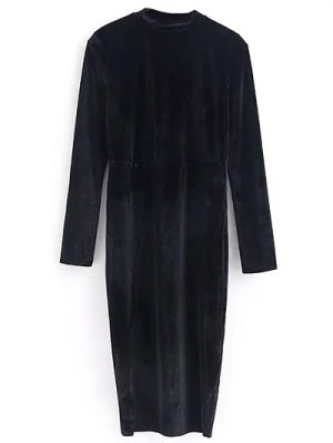 Vintage Velvet Slit Dress - Black