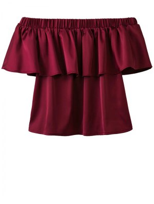Off The Shoulder Flouncing Blouse - Wine Red