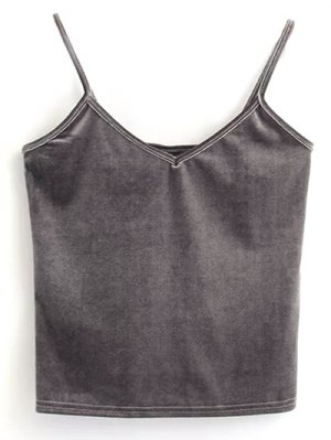 Velvet Cropped Tank Top - Gray
